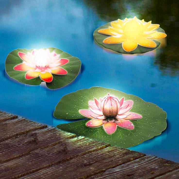 3er Set Elegante Wasser Lilien See Rosen Garten Lampen Teich Leuchten Eglo 86517 – Bild 3