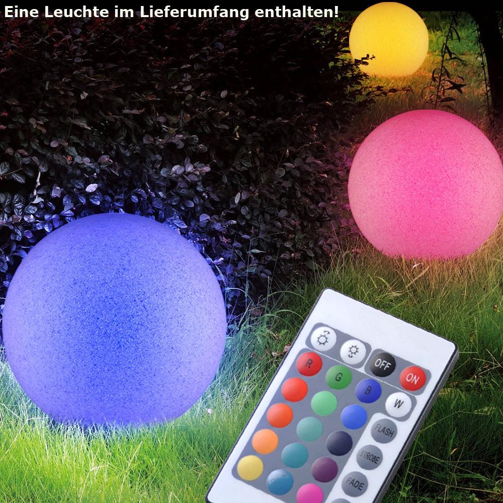 LED Design Garten Weg Steck Leuchte 7 Watt Farbwechsel Stein Kugel Fernbedienung