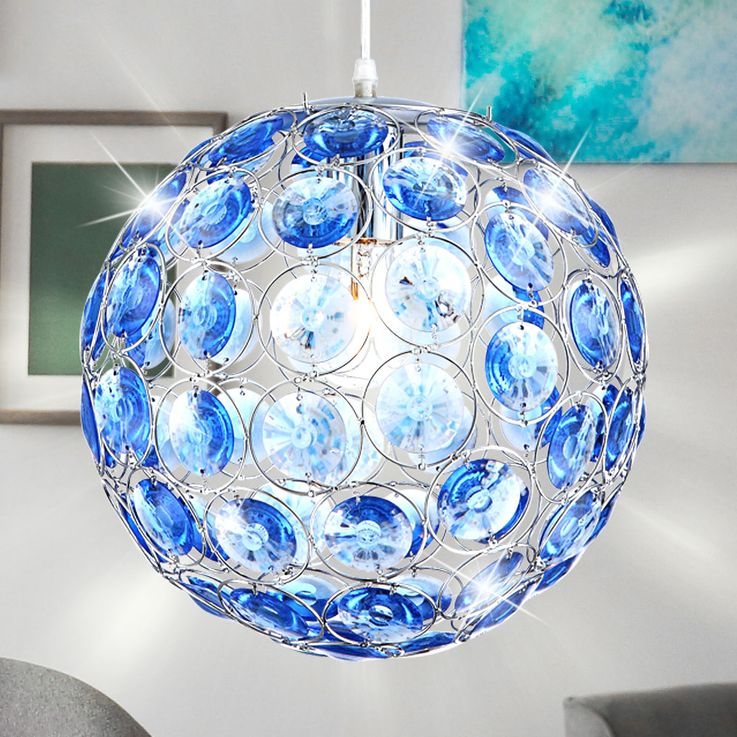 LED pendant with ocean blue acrylic crystals – Bild 4