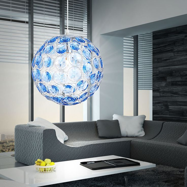 LED pendant with ocean blue acrylic crystals – Bild 5