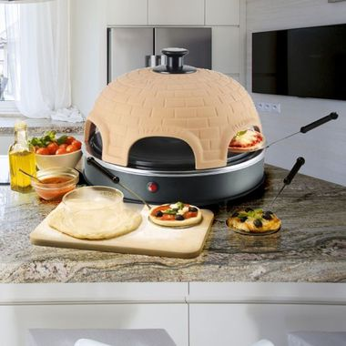 Tisch Ofen Mini Pizza Terrakotta Party Haube Raclette Pizzarette Waves PO-110450 – Bild 5