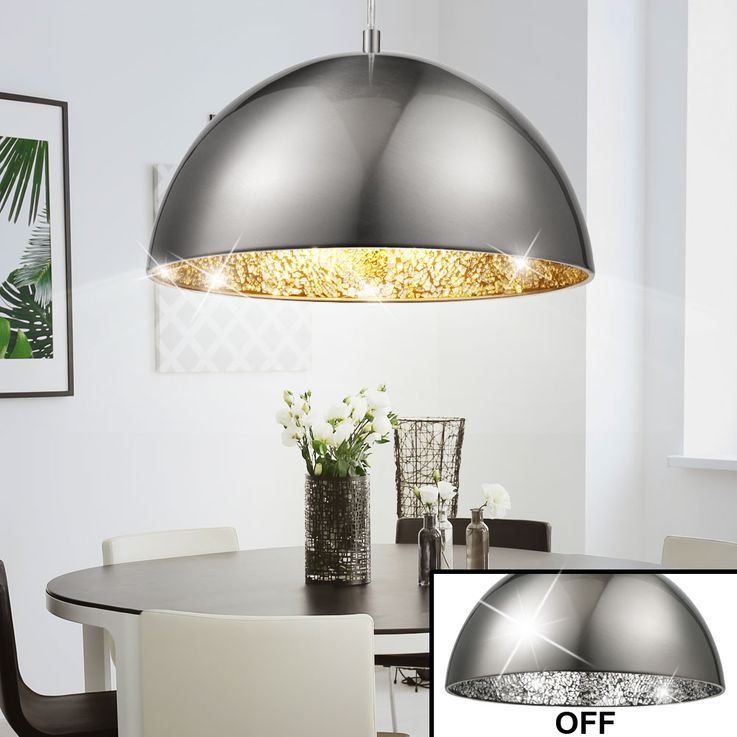 Elegant LED pendant with silver mosaic – Bild 3