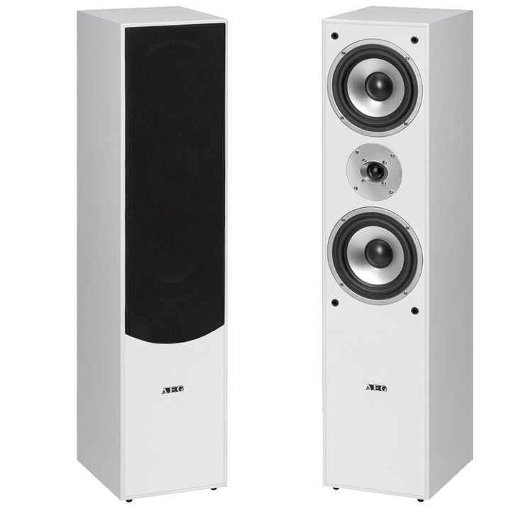 2 Stand Speakers 1000 Watt Bass Reflex Boxes Tweeter Music Boombox  AEG LB4711 White – Bild 1