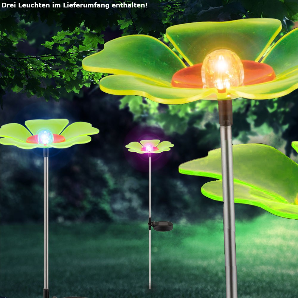 3er set farbwechsel solar leuchten led garten steck blumen veranda au en lampen ebay. Black Bedroom Furniture Sets. Home Design Ideas