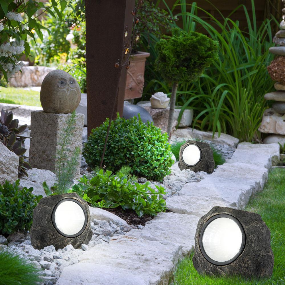 3 x pierre lampe extrieure del luminaire solaire led ip44 clairage jardin - Eclairage Jardin