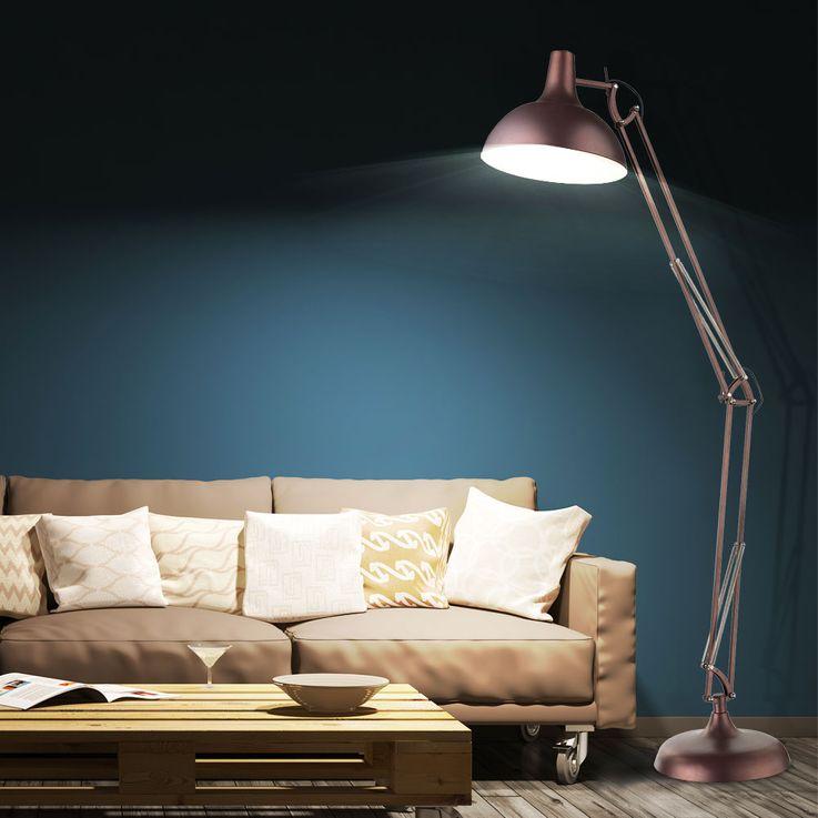 Große Steh Leuchte Beleuchtung Stand Lampe Metall bronzefärbig Schalter Globo 58312 – Bild 4