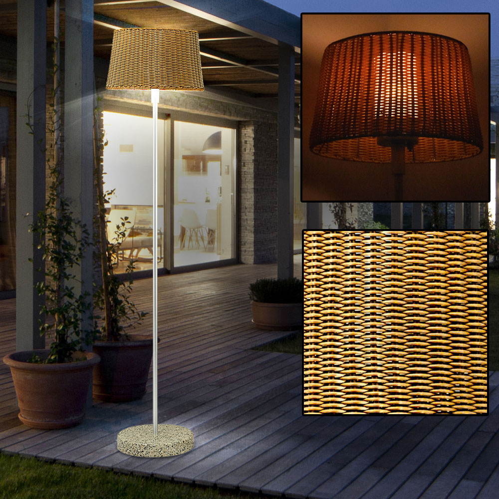 led au en steh leuchte garten terrasse decken fluter marmor wohn zimmer lampe ebay. Black Bedroom Furniture Sets. Home Design Ideas