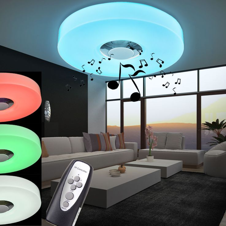 15W RGB LED ceiling lamp MP3 Bluetooth speaker remote control Esto 746030 – Bild 3