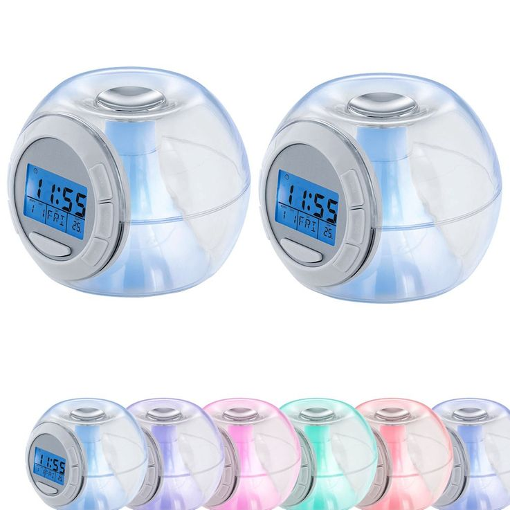 2 set LED alarm clock night table RGB clock color changing light date time display – Bild 1