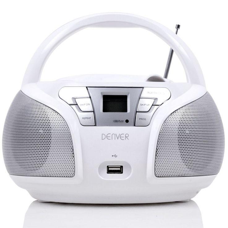 Hochwertiger CD Player toplader USB Boombox Stereo Lautsprecher Radio Denver TCU 206 weiss – Bild 4
