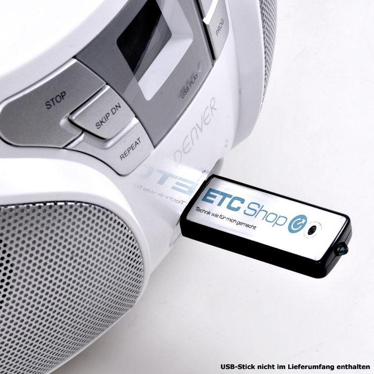 Hochwertiger CD Player toplader USB Boombox Stereo Lautsprecher Radio Denver TCU 206 weiss – Bild 6
