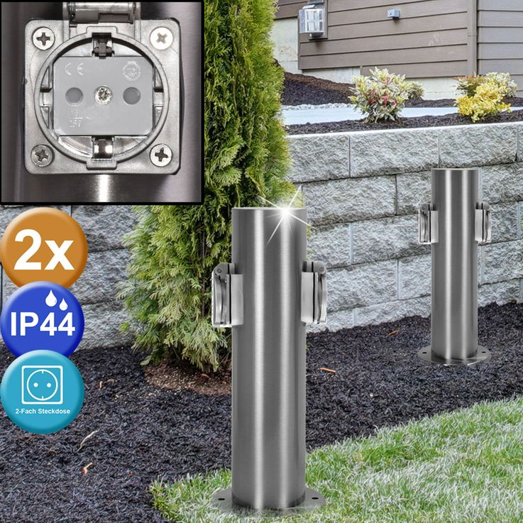 2 set 2 specialist outdoor outlet energy power distributor stainless steel IP44 column – Bild 2
