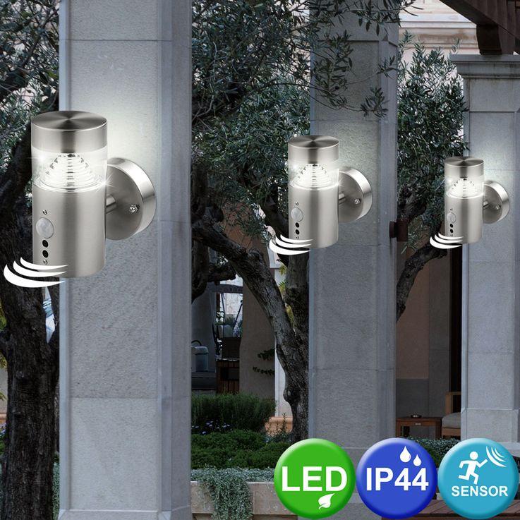 LED Wand Außen Leuchte Sensor Strahler Bewegungsmelder Edelstahl Lampe BT1103a_up_pir – Bild 3