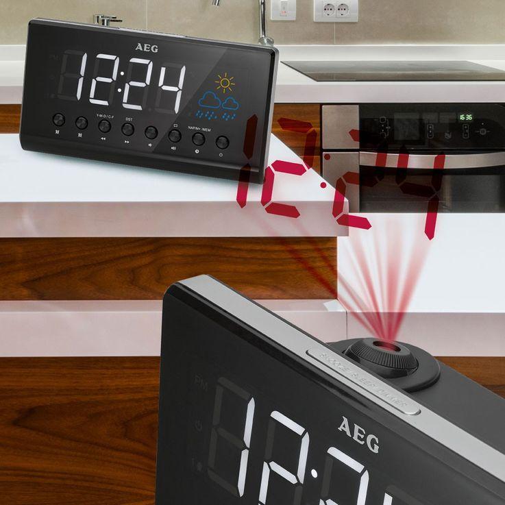 Hochwertiger Radio Wecker Projektor Datum Uhr Temperatur Anzeige AEG MRC 4141 P – Bild 4