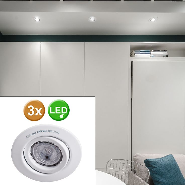 Set of 3 LED Recessed spotlights spots lamp lighting swivel Paulmann 920.27 – Bild 2