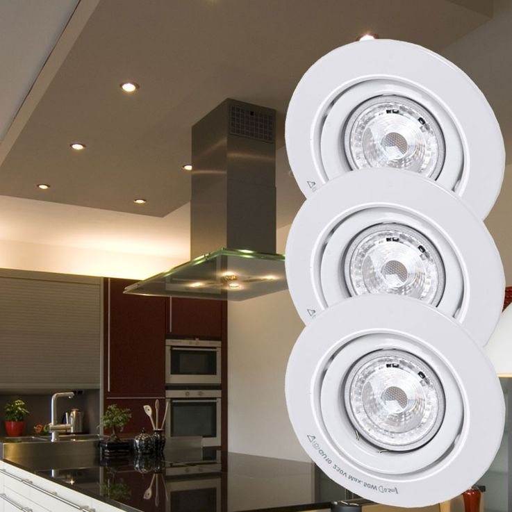Set of 3 LED Recessed spotlights spots 6,5W metal lamp light white Paulmann 920.29 – Bild 2