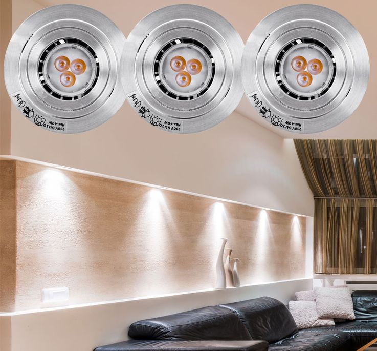 High-quality set of 3 set spotlights spot recessed adjustable brushed ALU Paulmann 926.23 – Bild 2