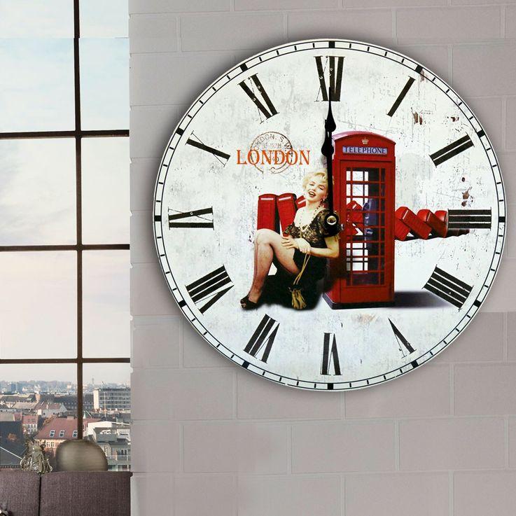 Retro Design Wand Uhr London Deko Zeit Anzeige Römische Zahlen Telefonzelle  – Bild 4