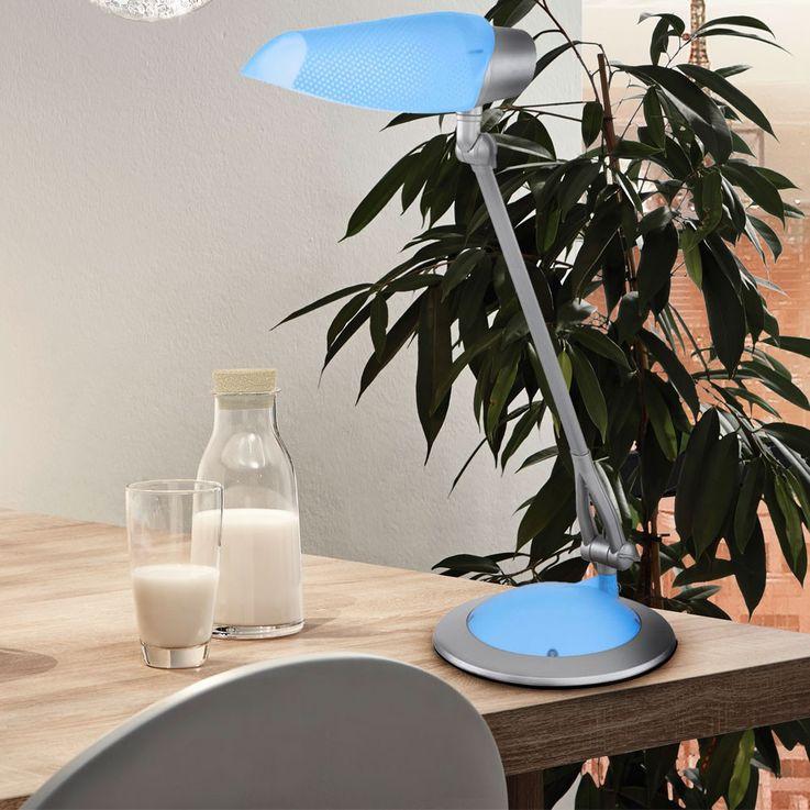 Design Schreib Tisch Lampe Energie Spar Lese Leuchte beweglich blau Eglo 54199 – Bild 2