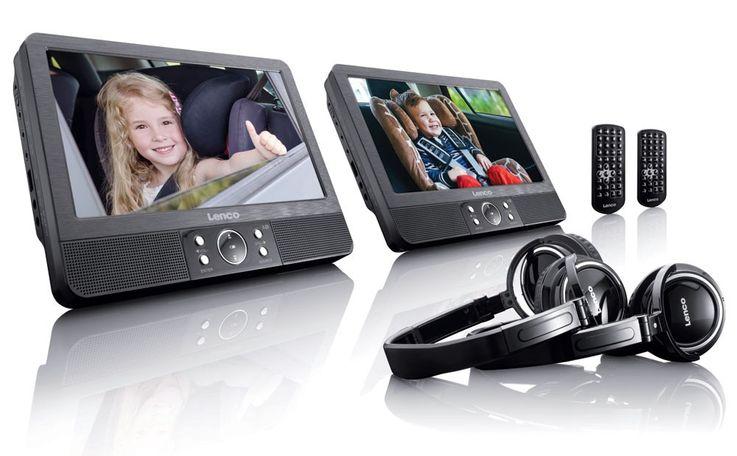 2 tragbare DVD Player schwenkbar Bildschirm USB SD Kopfhörer Lenco DVP 938 X2 – Bild 1
