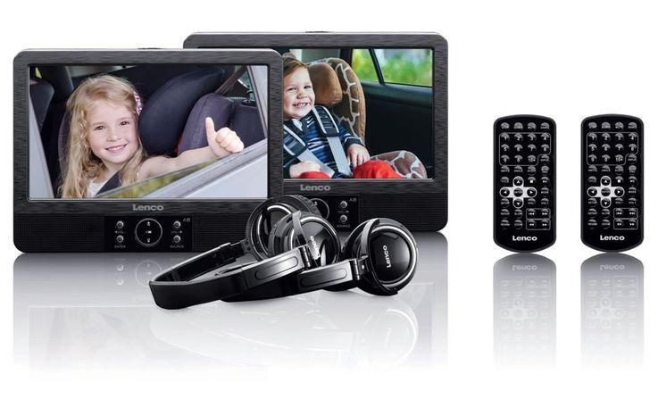 2 tragbare DVD Player schwenkbar Bildschirm USB SD Kopfhörer Lenco DVP 938 X2 – Bild 3