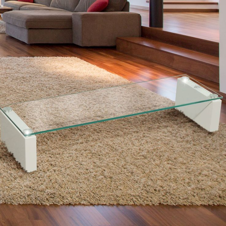 High-quality TV Shelf tempered glass table shelf stable MDF HighGloss white BHP B153148-3 – Bild 2