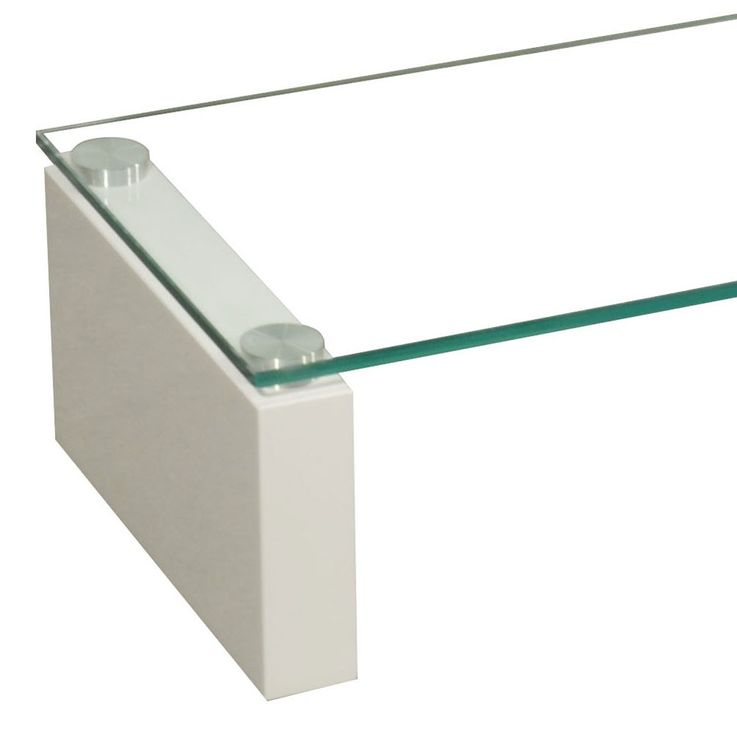 High-quality TV Shelf tempered glass table shelf stable MDF HighGloss white BHP B153148-3 – Bild 3