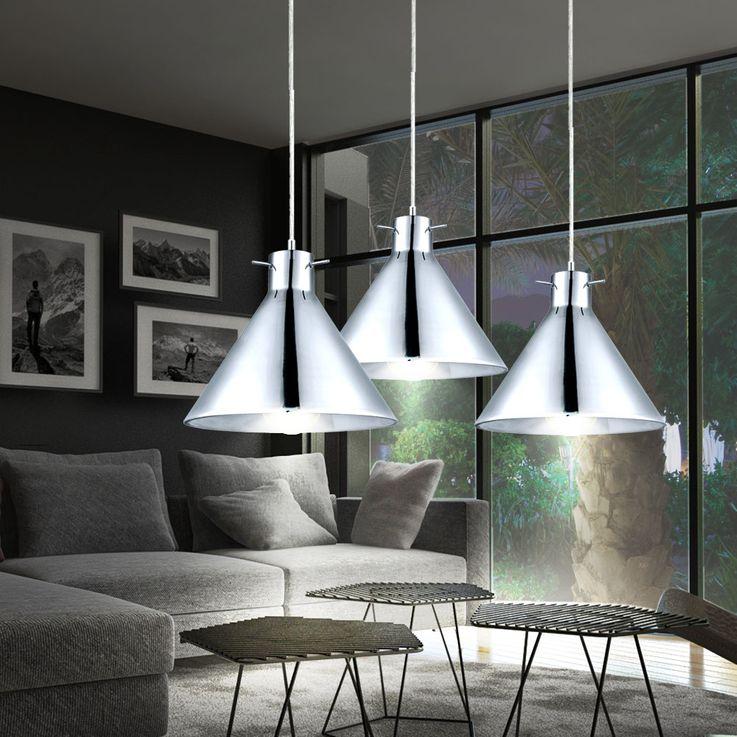 Elegante LED Hängeleuchte aus Stahl und Chrom – Bild 5