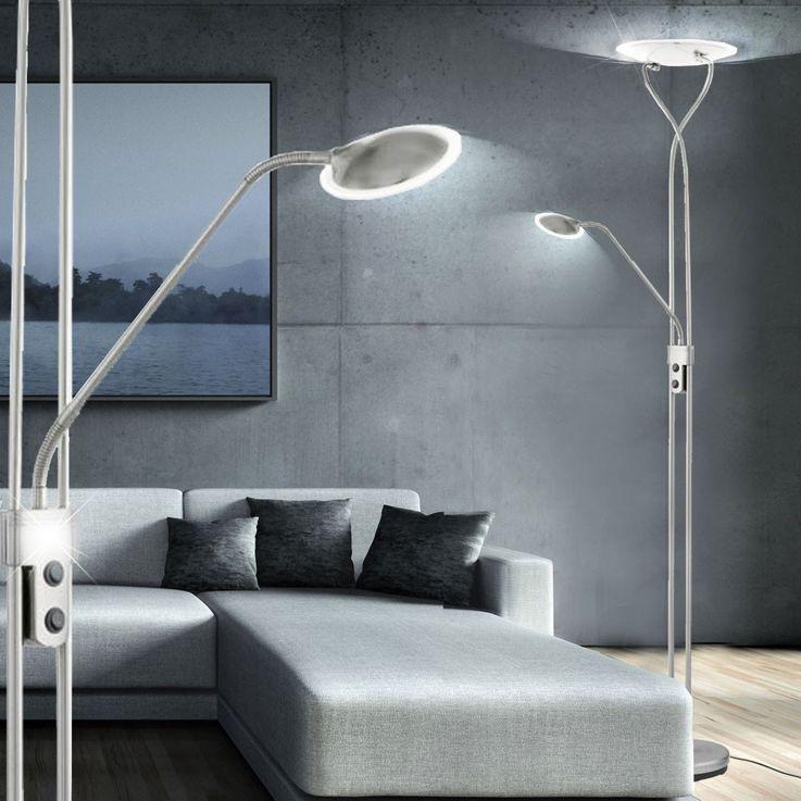 Elegante LED Stehleuchte mit Deckenfluter und Leseleuchte – Bild 3