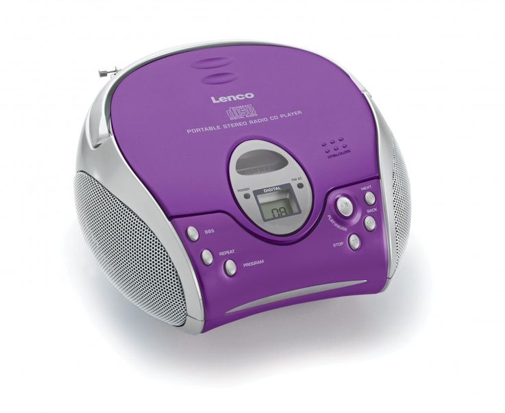High-quality stereo FM radio CD player speaker portable music Lenco SCD-24 purple – Bild 6