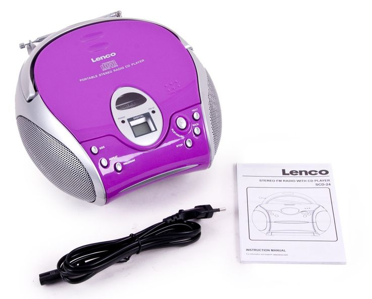 High-quality stereo FM radio CD player speaker portable music Lenco SCD-24 purple – Bild 5