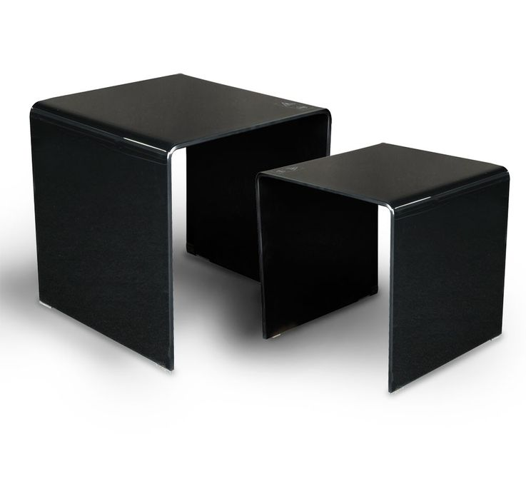 Stand glass table Black 2-piece living room by control extendable decoration BHP B154076-4 – Bild 3