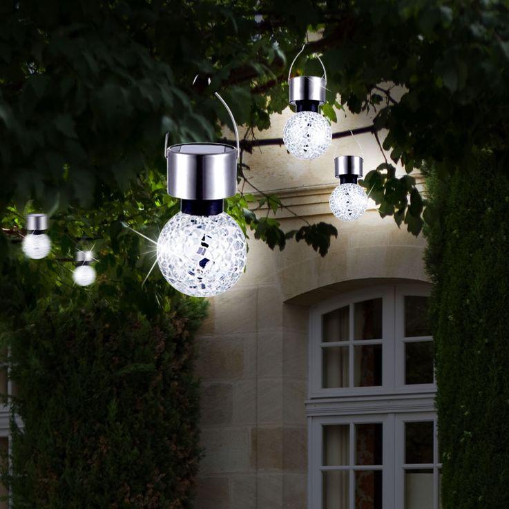 Lampe solaire LED luminaire suspension éclairage DEL acier inoxydable mosaïque miroir – Bild 6