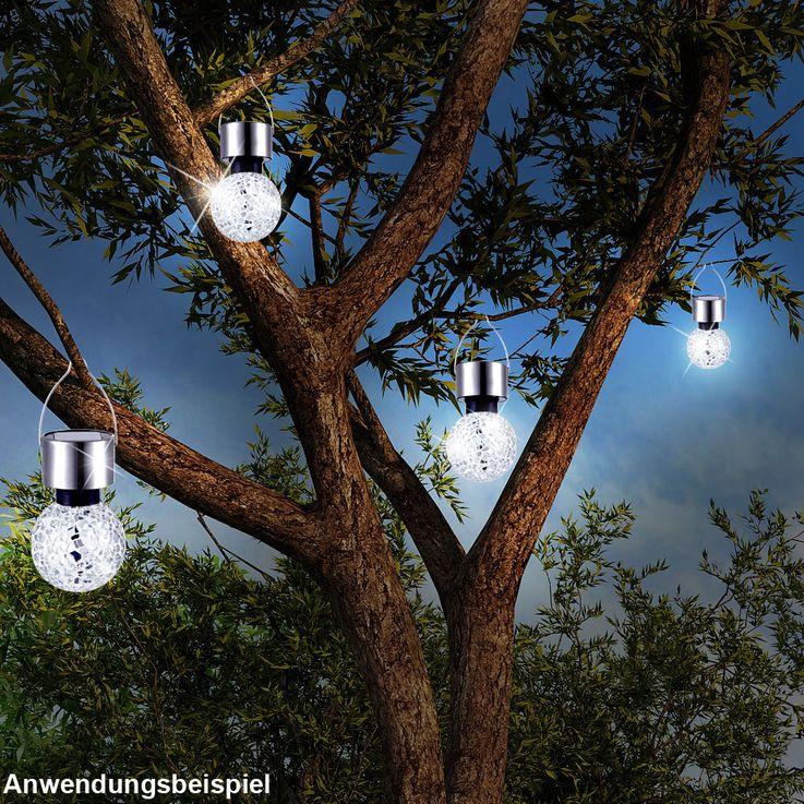 Lampe solaire LED luminaire suspension éclairage DEL acier inoxydable mosaïque miroir – Bild 3