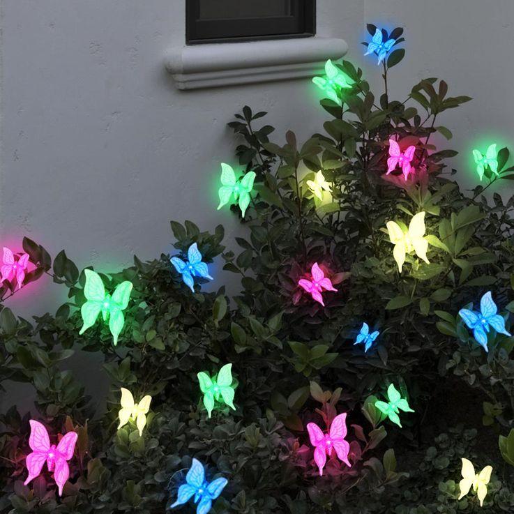 RGB LED Solar Außen Lichterkette 10x Schmetterling Park Deko Farbwechsel Lampen Globo 33703-10 – Bild 3