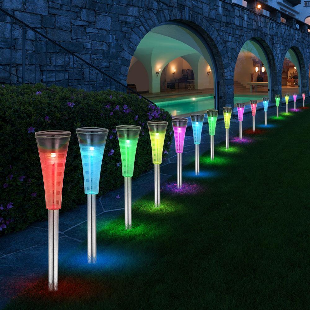 Luxus RGB LED 5er Set Außenlampen Steckleuchten Grundstückstrahler FARBWECHSLER