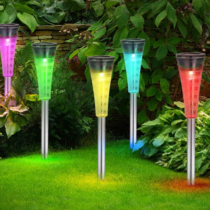 Set of 5 RGB LED Solar Plug-In Outdoor Garden Stainless Steel Outdoor Lamps Color Changer Globo 33079-5 – Bild 3