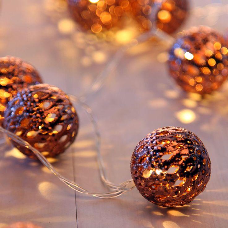 20er LED Lichter Kette Kupfer Kugel Weihnachts Deko Beleuchtung Advent Lampen  Globo 29957-20C – Bild 1