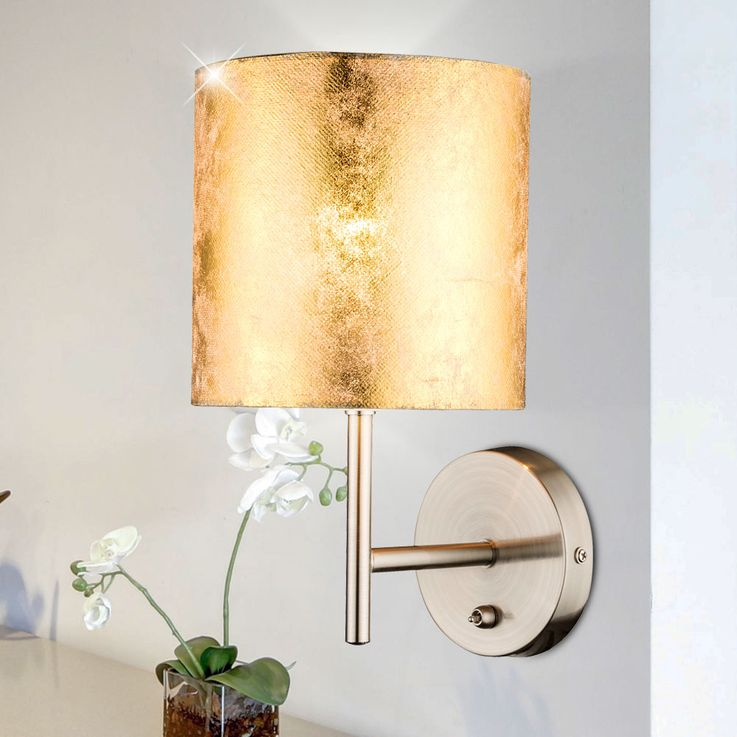 Design wall lamp spotlight textile gold night light reading lamp lighting switch Globo 15187W – Bild 3