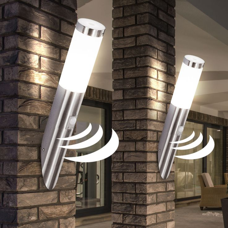 LED Außen Wand Leuchte Fassaden Edelstahl Strahler Terrassen Sensor Lampe Globo 3157SLED – Bild 3