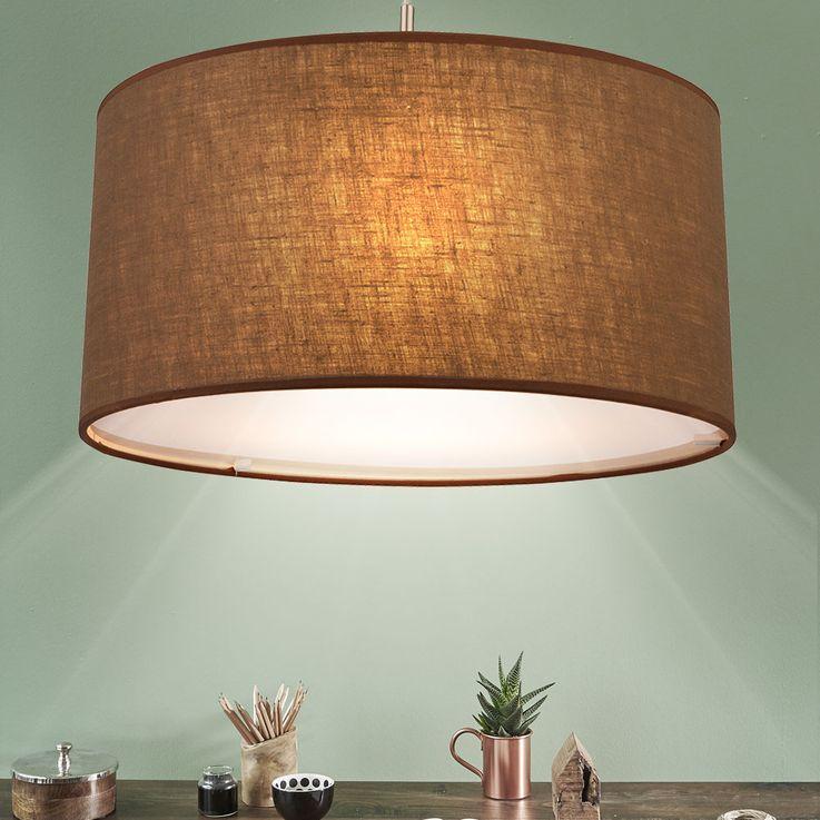 Hanging light dining room ceiling pendant lighting textile lamp Brown Globo 15186 H – Bild 2