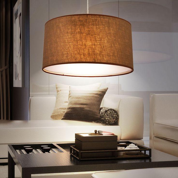 Hanging light dining room ceiling pendant lighting textile lamp Brown Globo 15186 H – Bild 4