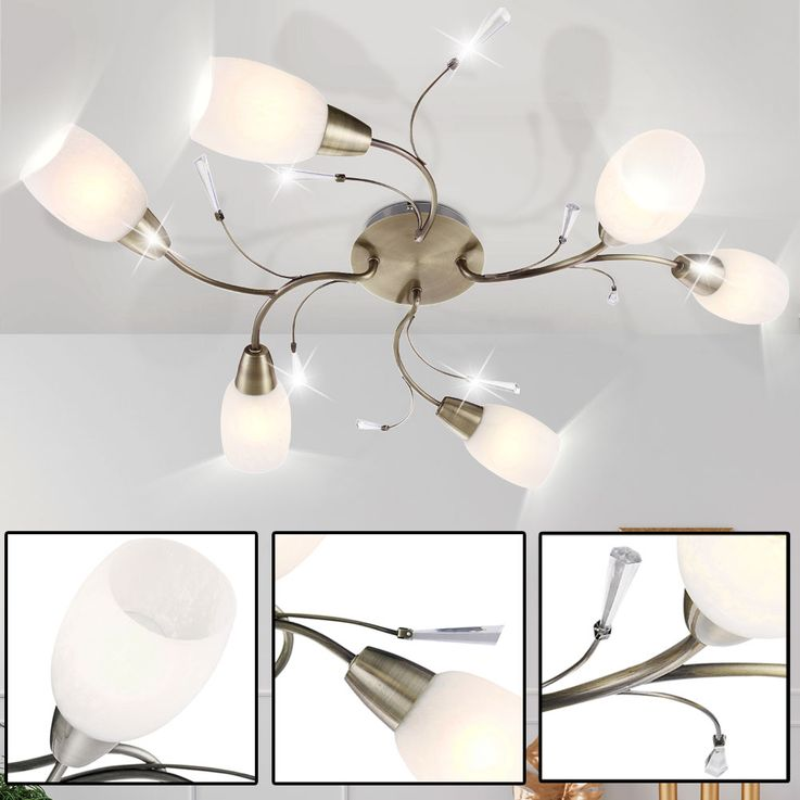Ceiling lamp, antique brass, glass, length 80 cm FORREST – Bild 3