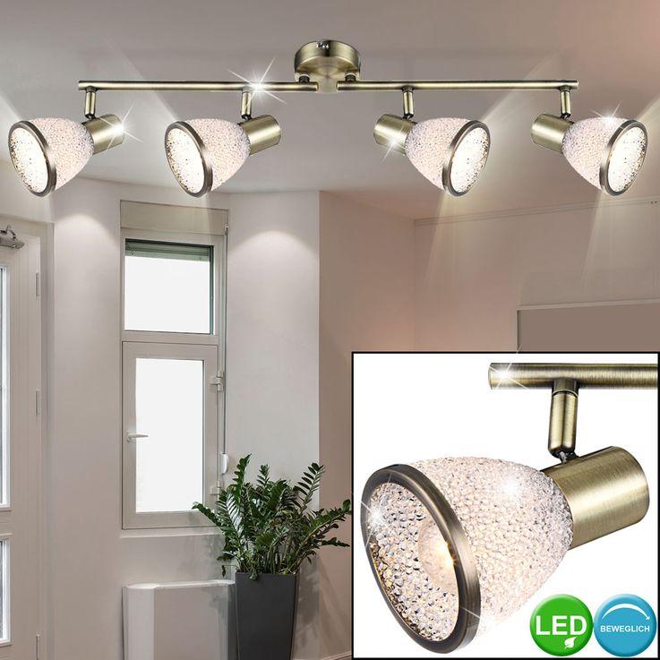 LED ceiling light living room lamp alt brass spot strip spotlight movable  Globo 56046-4 – Bild 2