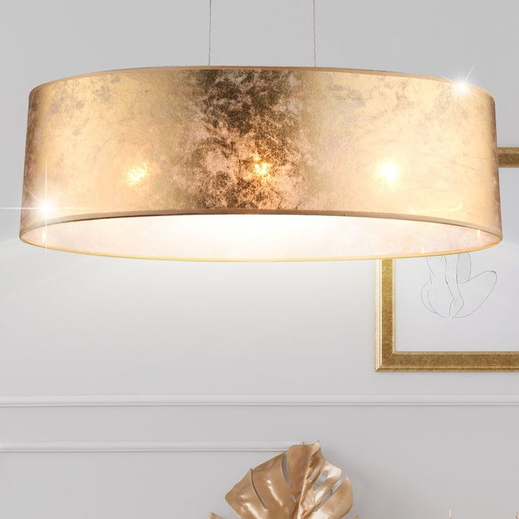 Elegant pendant ceiling light fabric hanging bed and light gold shiny 3-flg Globo 15187 H 2 – Bild 2