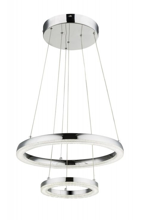 Traditional LED pendant lamp in chrome, K5 crystals SIGGI – Bild 1
