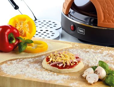 Party Pizzarette Mini Tisch Back Ofen 4 Personen Terrakotta Pizza Maker Trebs 99299 – Bild 3