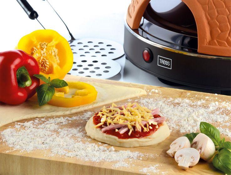 Praktischer Pizza Dom Ofen Terracotta Haube 6 Mini Pizzen Back Automat Trebs 99300 – Bild 5