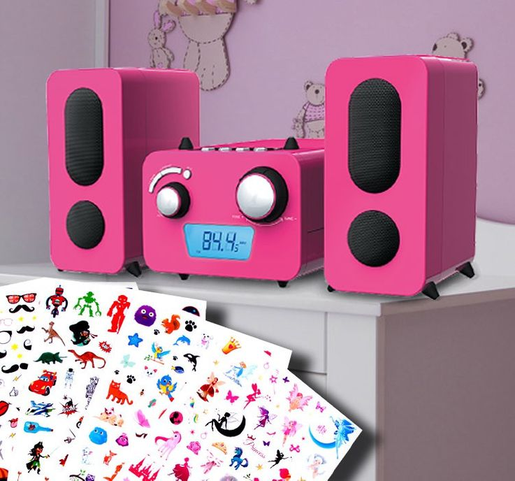 Children stereo music system CD player radio speaker sticker of Big Ben MCD 11 pink – Bild 3