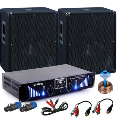 PA extension set 2 x 1200W Omnitronic subwoofer-3000W Bluetooth USB amplifier DJ add-on 10 – Bild 1